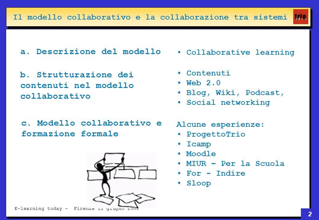 2 E-learning today - Firenze 11 giugno 2008 Il modello collaborativo e la collaborazione tra sistemi a.