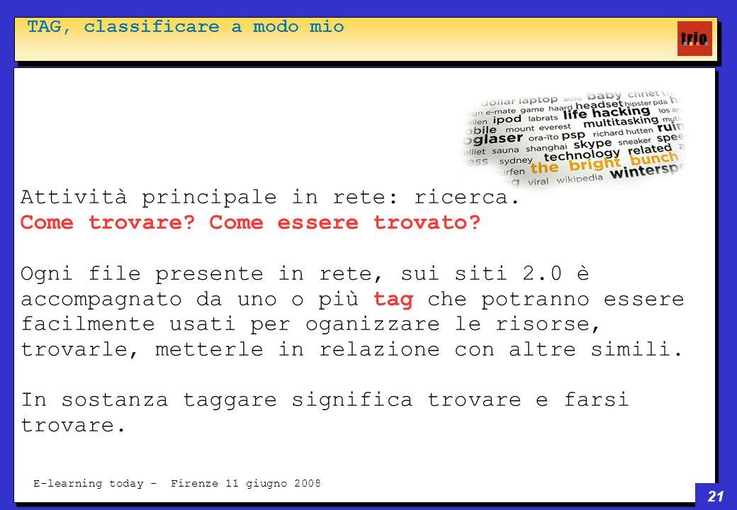 21 E-learning today - Firenze 11 giugno 2008 TAG, classificare a modo mio Attività principale in rete: ricerca.