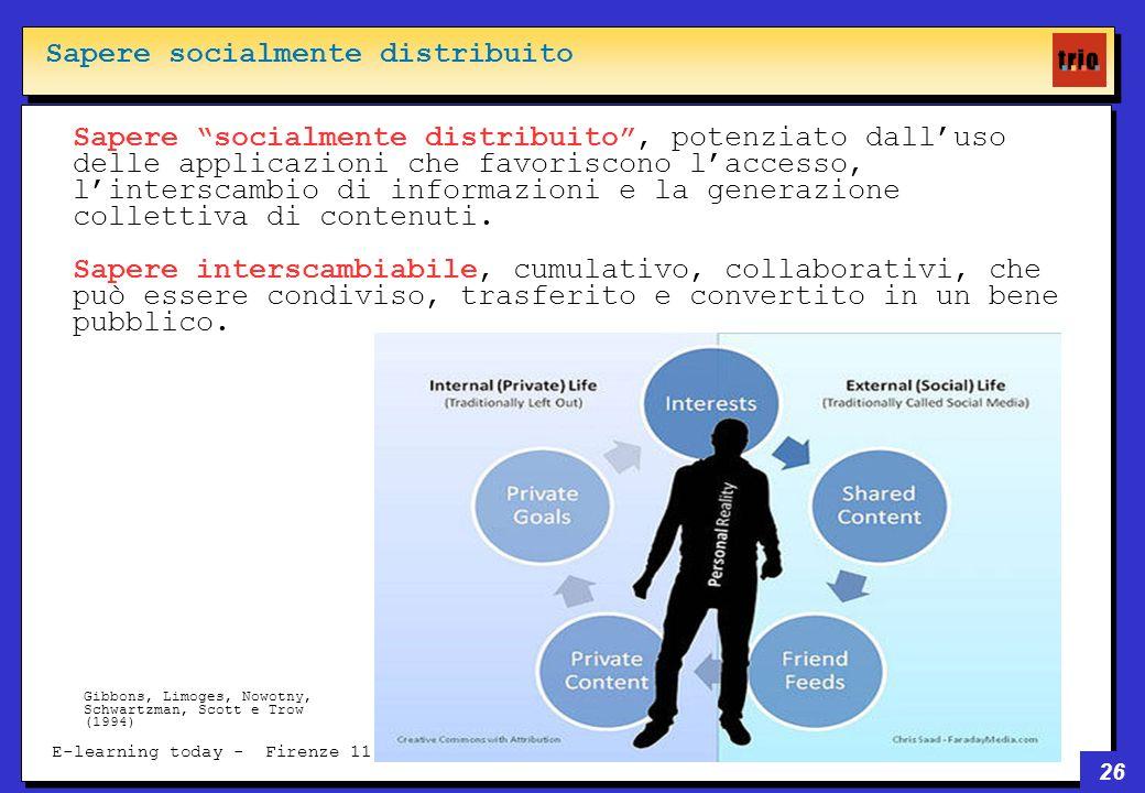 26 E-learning today - Firenze 11 giugno 2008 Sapere socialmente distribuito, potenziato dalluso delle applicazioni che favoriscono laccesso, linterscambio di informazioni e la generazione collettiva di contenuti.