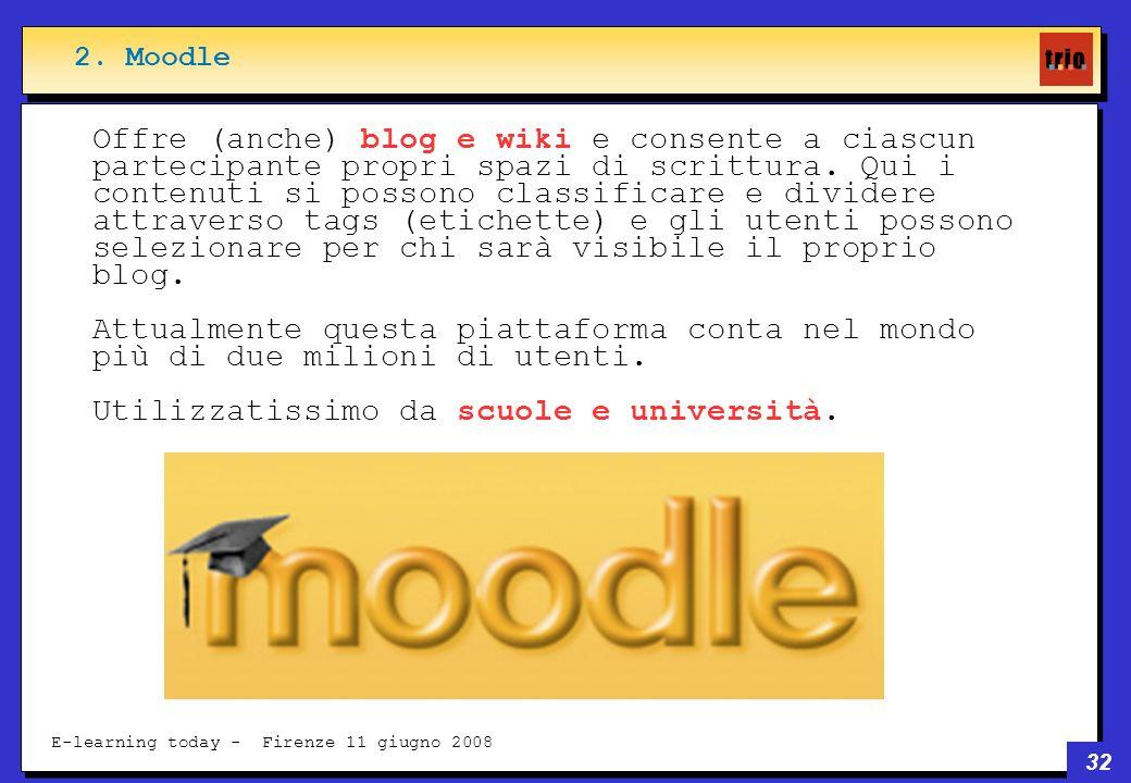 32 E-learning today - Firenze 11 giugno 2008 Offre (anche) blog e wiki e consente a ciascun partecipante propri spazi di scrittura.