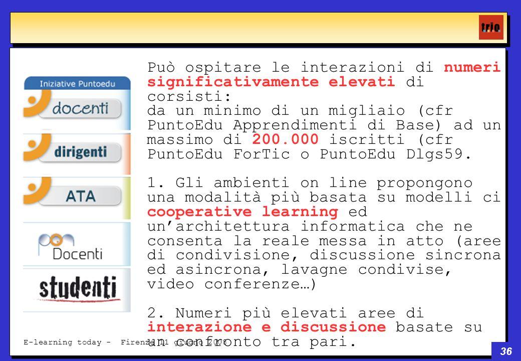 36 E-learning today - Firenze 11 giugno 2008 Può ospitare le interazioni di numeri significativamente elevati di corsisti: da un minimo di un migliaio (cfr PuntoEdu Apprendimenti di Base) ad un massimo di 200.000 iscritti (cfr PuntoEdu ForTic o PuntoEdu Dlgs59.
