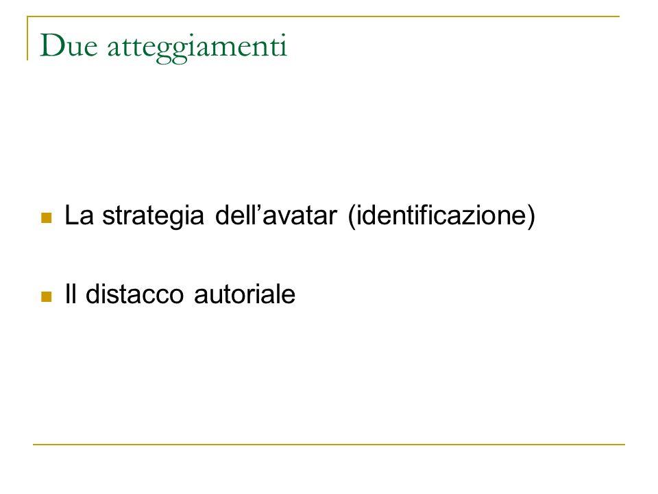 Due atteggiamenti La strategia dellavatar (identificazione) Il distacco autoriale