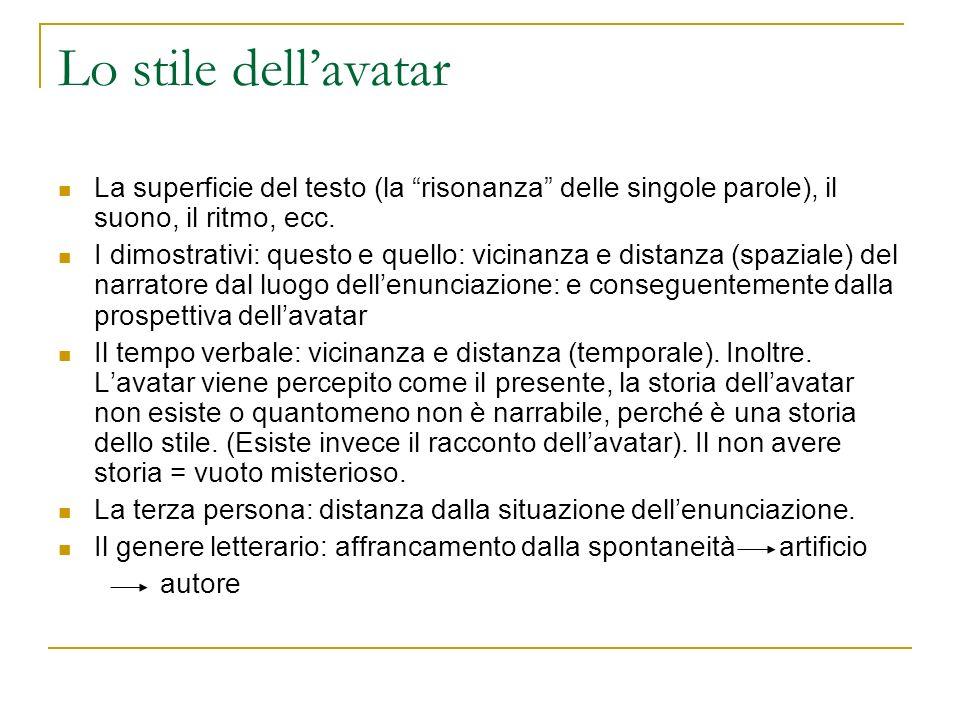 Lo stile dellavatar La superficie del testo (la risonanza delle singole parole), il suono, il ritmo, ecc.