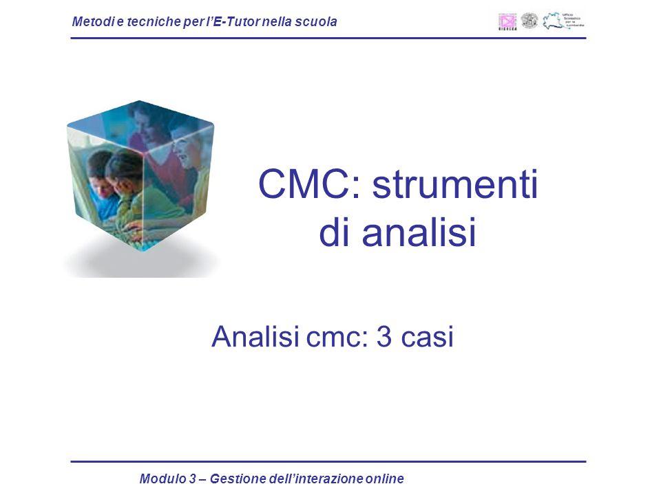 Metodi e tecniche per lE-Tutor nella scuola Modulo 3 – Gestione dellinterazione online CMC: strumenti di analisi Analisi cmc: 3 casi