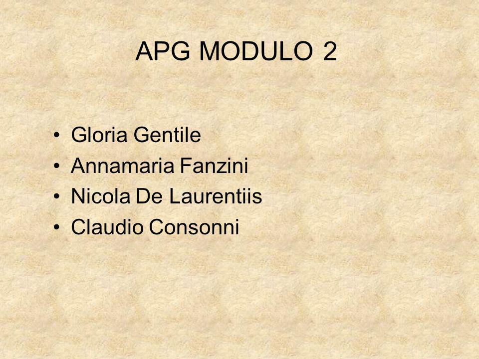 APG MODULO 2 Gloria Gentile Annamaria Fanzini Nicola De Laurentiis Claudio Consonni