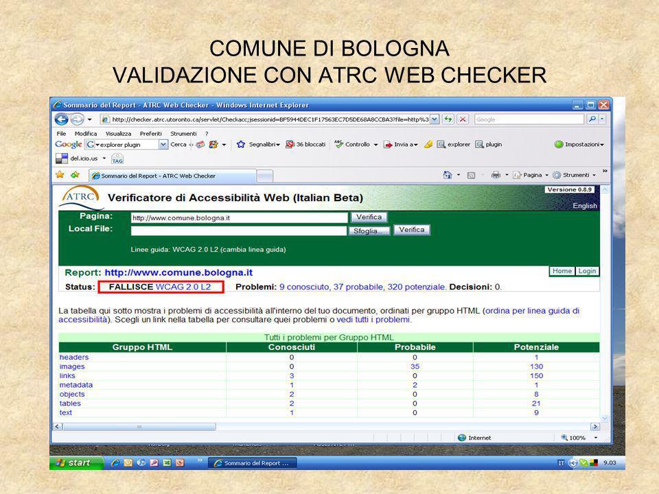 COMUNE DI BOLOGNA VALIDAZIONE CON ATRC WEB CHECKER