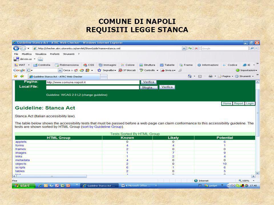 COMUNE DI NAPOLI REQUISITI LEGGE STANCA