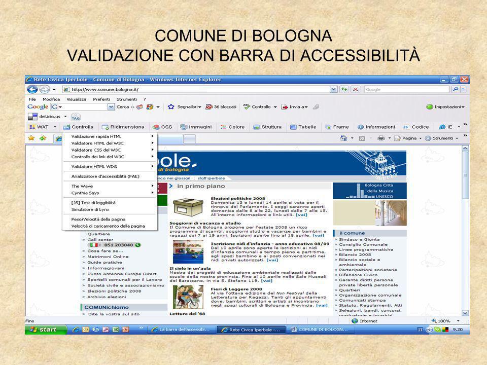 COMUNE DI BOLOGNA VALIDAZIONE CON BARRA DI ACCESSIBILITÀ