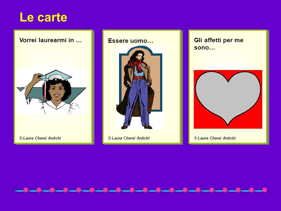 © Laura Chersi Antichi Vorrei laurearmi in … © Laura Chersi Antichi Essere uomo… © Laura Chersi Antichi Gli affetti per me sono… Le carte