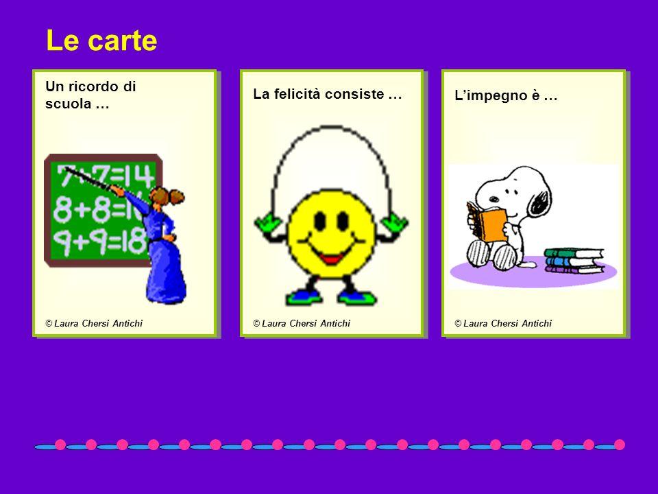 © Laura Chersi Antichi Un ricordo di scuola … © Laura Chersi Antichi La felicità consiste … © Laura Chersi Antichi Limpegno è … Le carte