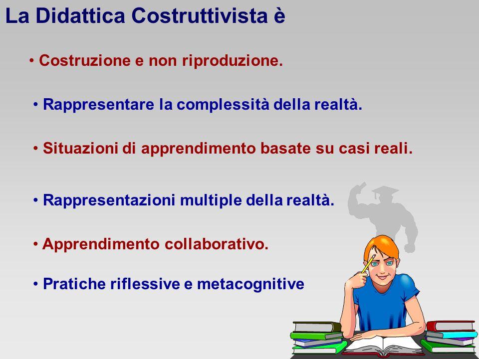 La Didattica Costruttivista è Costruzione e non riproduzione. Rappresentare la complessità della realtà. Situazioni di apprendimento basate su casi re