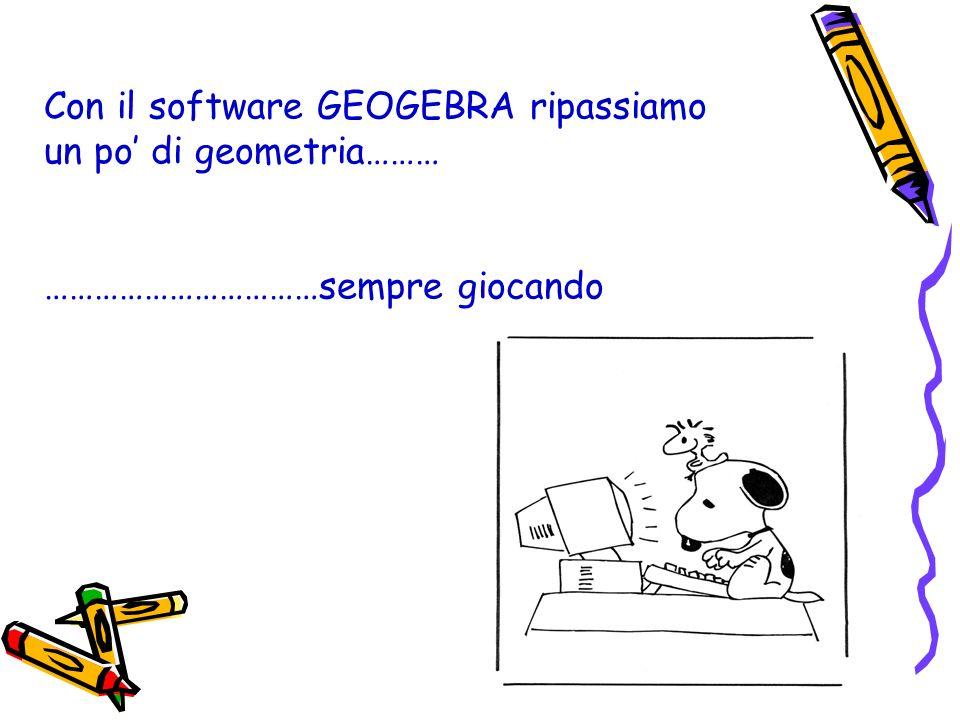 Con il software GEOGEBRA ripassiamo un po di geometria……… ……………………………sempre giocando