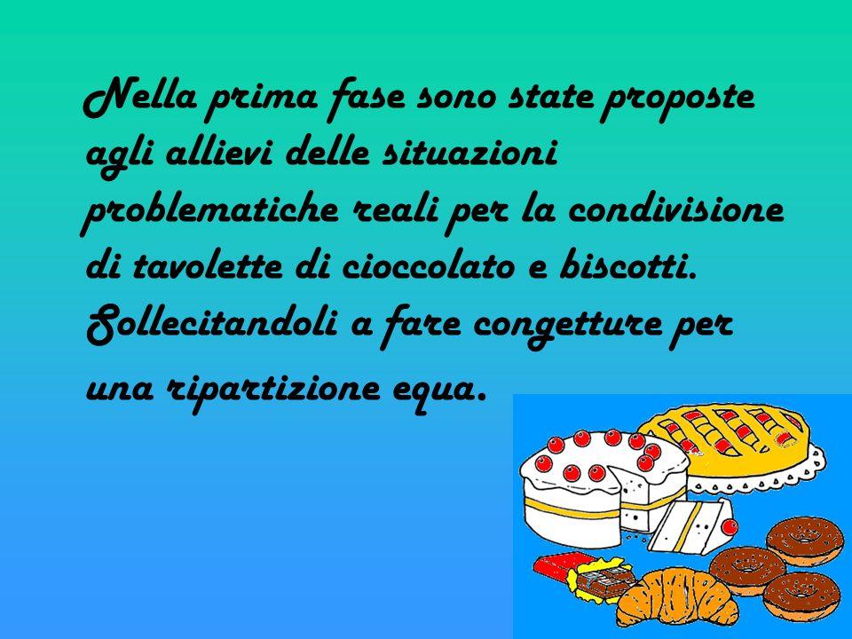 Nella prima fase sono state proposte agli allievi delle situazioni problematiche reali per la condivisione di tavolette di cioccolato e biscotti. Soll