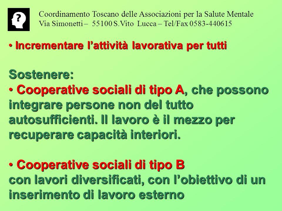 Coordinamento Toscano delle Associazioni per la Salute Mentale Via Simonetti – 55100 S.Vito Lucca – Tel/Fax 0583-440615 Incrementare lattività lavorat