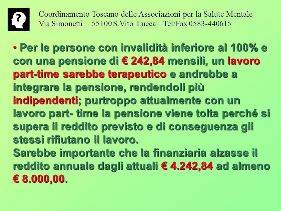 Coordinamento Toscano delle Associazioni per la Salute Mentale Via Simonetti – 55100 S.Vito Lucca – Tel/Fax 0583-440615 Per le persone con invalidità inferiore al 100% e con una pensione di 242,84 mensili, un lavoro part-time sarebbe terapeutico e andrebbe a integrare la pensione, rendendoli più indipendenti; purtroppo attualmente con un lavoro part- time la pensione viene tolta perché si supera il reddito previsto e di conseguenza gli stessi rifiutano il lavoro.