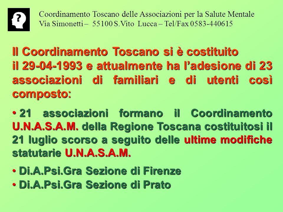 Il Coordinamento Toscano si è costituito il 29-04-1993 e attualmente ha ladesione di 23 associazioni di familiari e di utenti così composto : 21 associazioni formano il Coordinamento U.N.A.S.A.M.