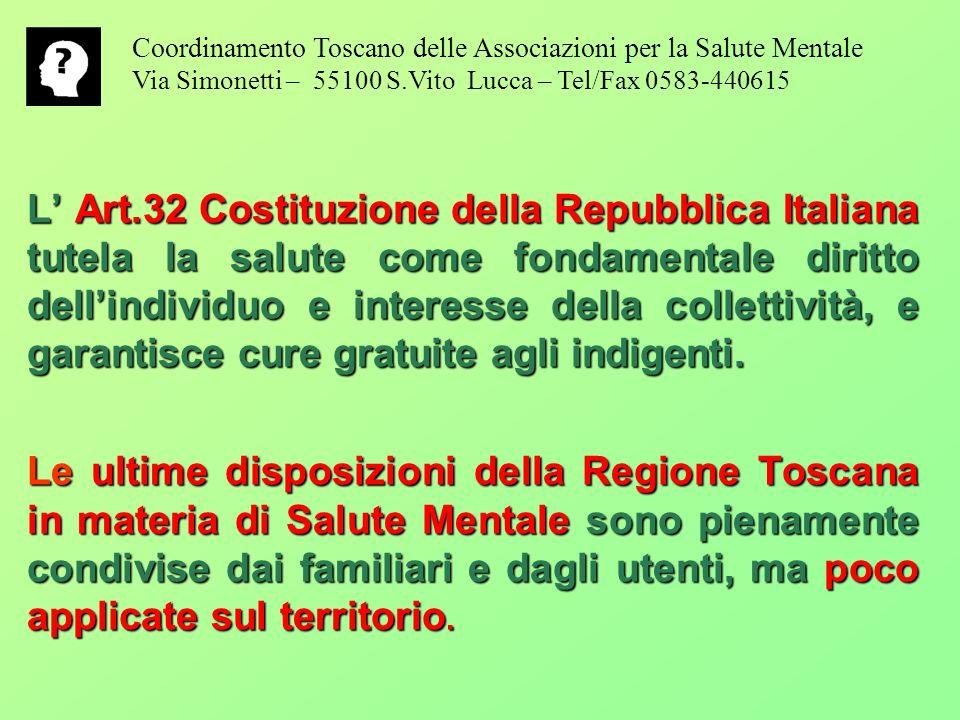 L Art.32 Costituzione della Repubblica Italiana tutela la salute come fondamentale diritto dellindividuo e interesse della collettività, e garantisce