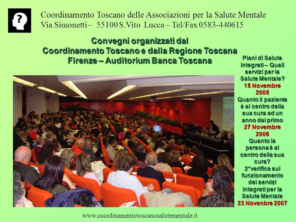 Coordinamento Toscano delle Associazioni per la Salute Mentale Via Simonetti – 55100 S.Vito Lucca – Tel/Fax 0583-440615 Convegni organizzati dal Coord