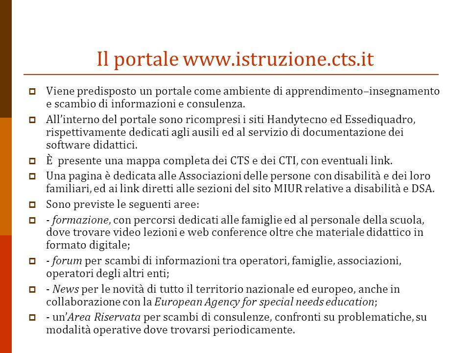 Il portale www.istruzione.cts.it Viene predisposto un portale come ambiente di apprendimento–insegnamento e scambio di informazioni e consulenza. Alli