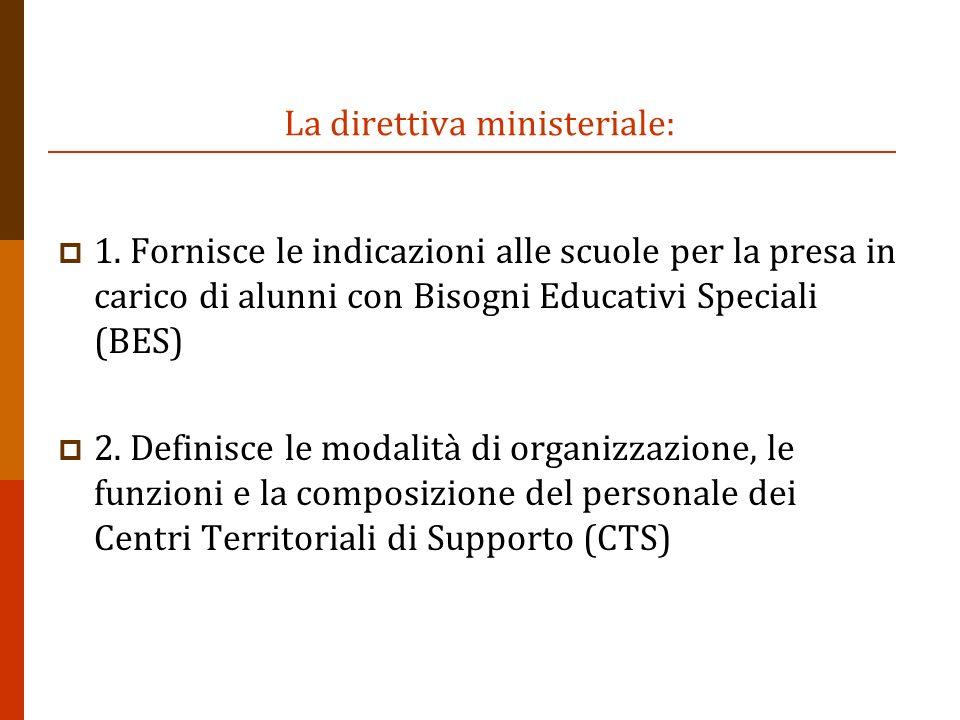 La direttiva ministeriale: 1. Fornisce le indicazioni alle scuole per la presa in carico di alunni con Bisogni Educativi Speciali (BES) 2. Definisce l