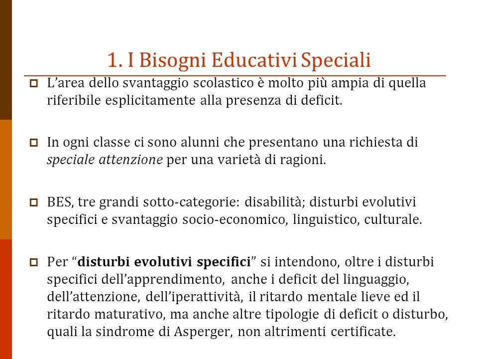 1. I Bisogni Educativi Speciali Larea dello svantaggio scolastico è molto più ampia di quella riferibile esplicitamente alla presenza di deficit. In o