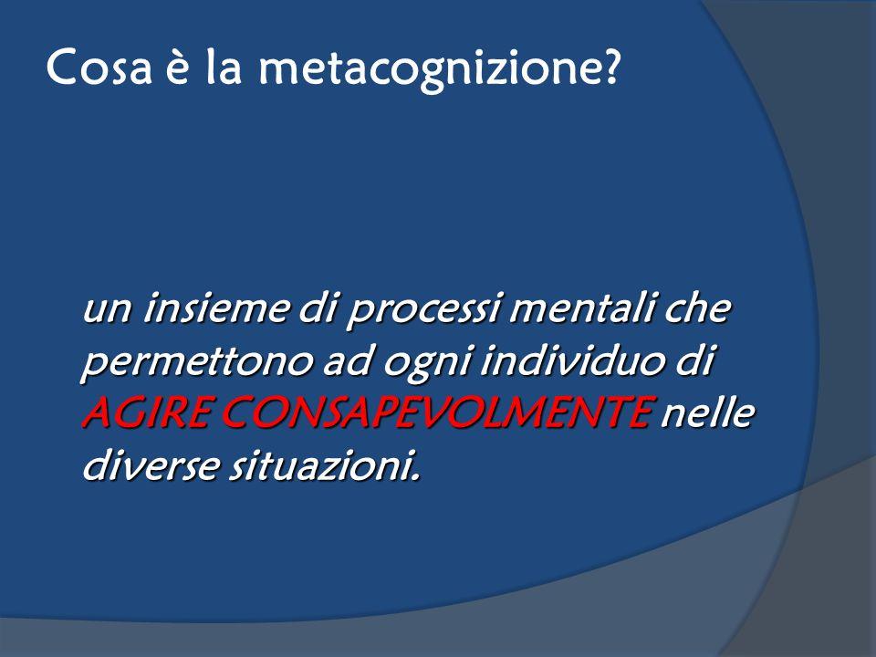 Cosa è la metacognizione? un insieme di processi mentali che permettono ad ogni individuo di AGIRE CONSAPEVOLMENTE nelle diverse situazioni.