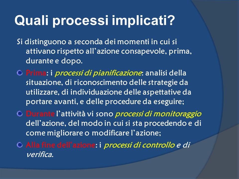 Quali processi implicati? Si distinguono a seconda dei momenti in cui si attivano rispetto allazione consapevole, prima, durante e dopo. Prima: i proc