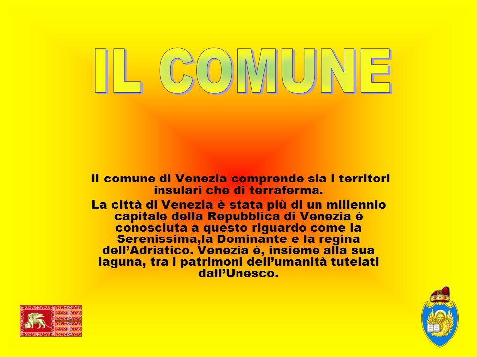 Il comune di Venezia comprende sia i territori insulari che di terraferma. La città di Venezia è stata più di un millennio capitale della Repubblica d