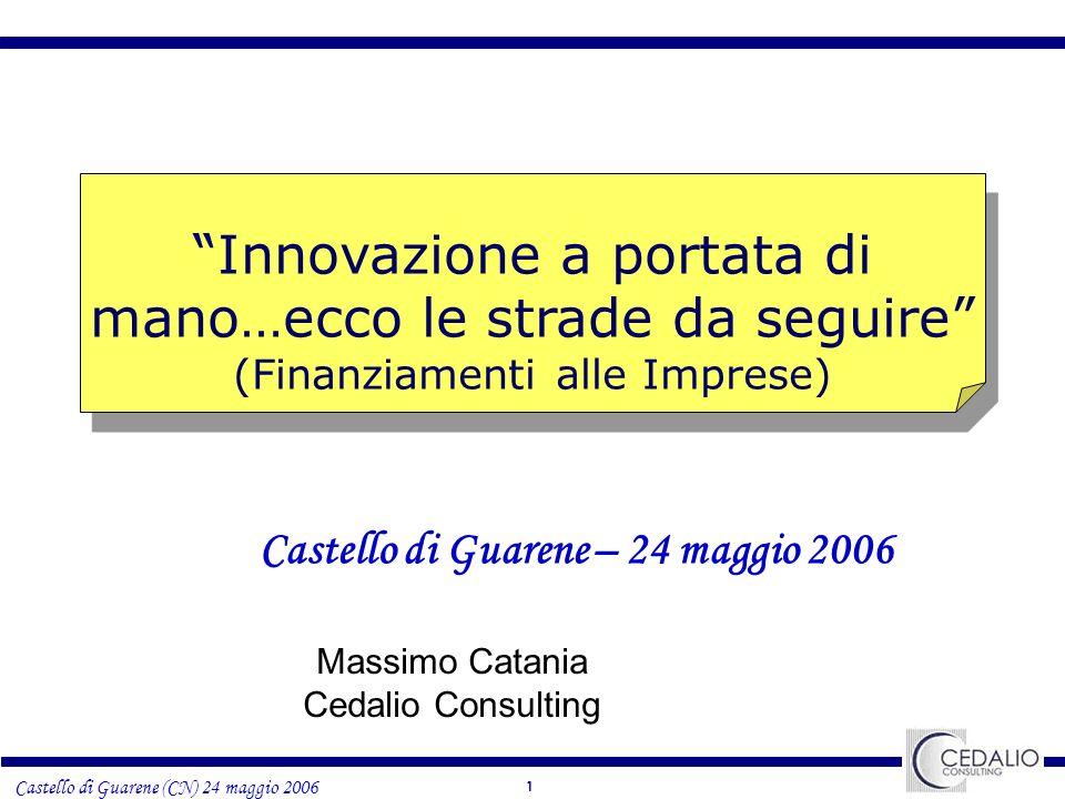 1 Castello di Guarene (CN) 24 maggio 2006 Innovazione a portata di mano…ecco le strade da seguire (Finanziamenti alle Imprese) Castello di Guarene – 24 maggio 2006 Massimo Catania Cedalio Consulting