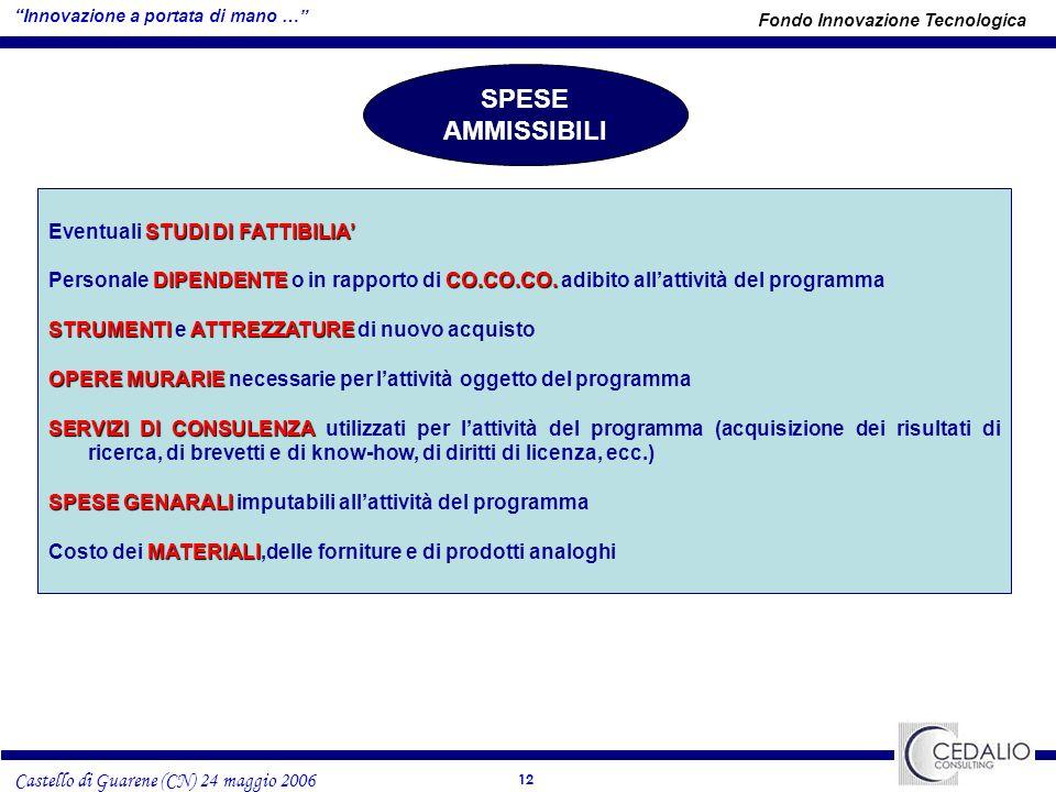 12 Castello di Guarene (CN) 24 maggio 2006 SPESE AMMISSIBILI STUDI DI FATTIBILIA Eventuali STUDI DI FATTIBILIA DIPENDENTECO.CO.CO.