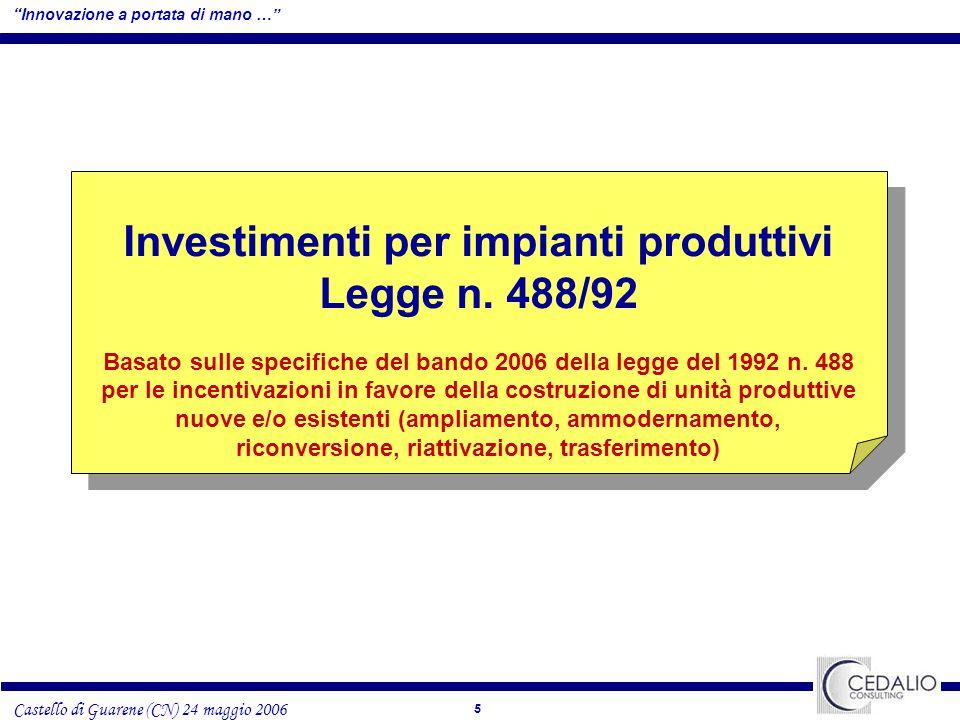 5 Castello di Guarene (CN) 24 maggio 2006 Investimenti per impianti produttivi Legge n.