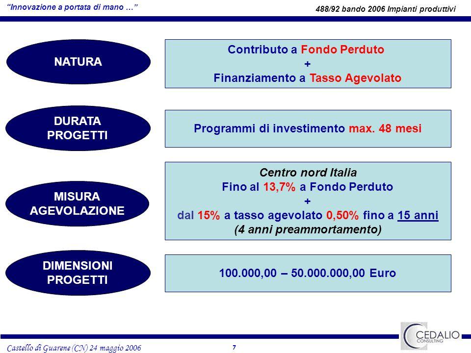 7 Castello di Guarene (CN) 24 maggio 2006 NATURA Contributo a Fondo Perduto + Finanziamento a Tasso Agevolato DURATA PROGETTI Programmi di investimento max.