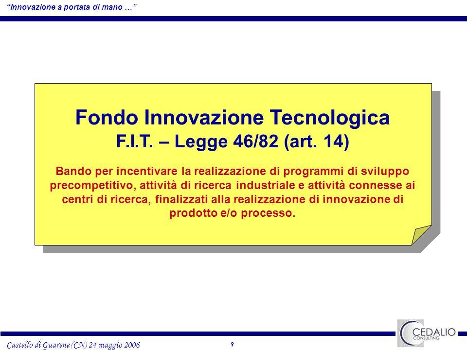 10 Castello di Guarene (CN) 24 maggio 2006 Innovazione a portata di mano … Fondo Innovazione Tecnologica INVESTIMENTI AMMISSIBILI prodottiprocessi Programmi di sviluppo precompetitivo per la realizzazione di prodotti e/o processi innovativi (escluse tecnologie digitali e/o ICT), ricadenti nelle relative aree tecnologiche: Materiali avanzati Tecnologie chimiche e separative Biotecnologie Tecnologie meccaniche e della produzione industriale Tecnologie ambientali