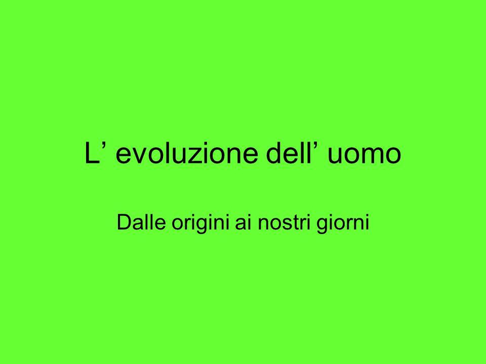 Levoluzione delluomo Australopiteco Homo habilis Homo erectus Homo sapiens Homo sapiens sapiens