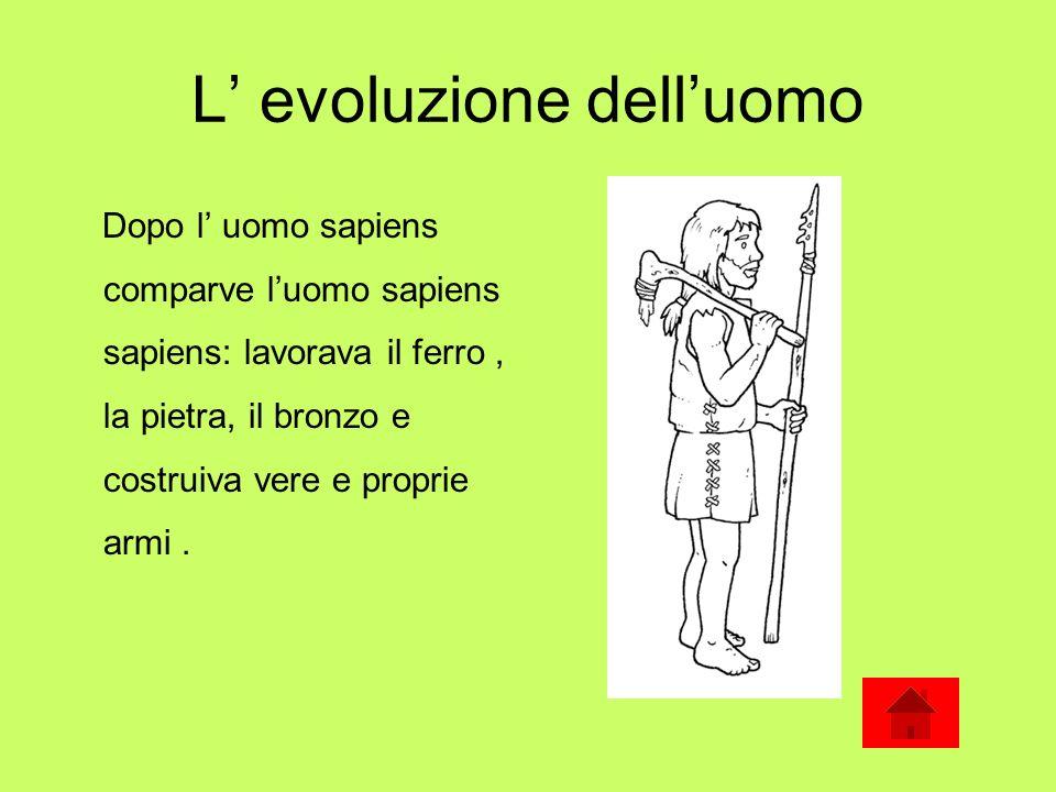 L evoluzione delluomo Col passare degli anni luomo si è evoluto fino a noi e alle nostre efficienti tecnologie.