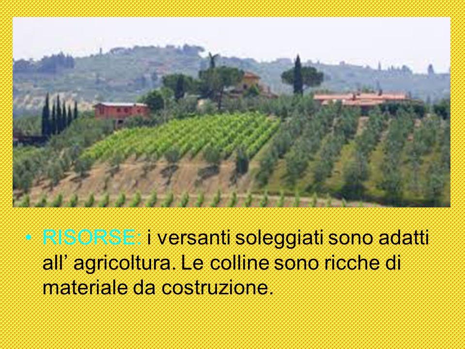 RISORSE: i versanti soleggiati sono adatti all agricoltura. Le colline sono ricche di materiale da costruzione.