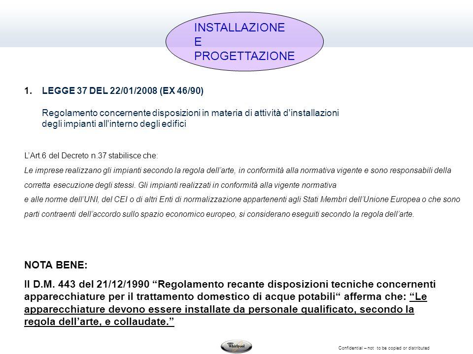 Confidential – not to be copied or distributed 1.LEGGE 37 DEL 22/01/2008 (EX 46/90) Regolamento concernente disposizioni in materia di attività d'inst