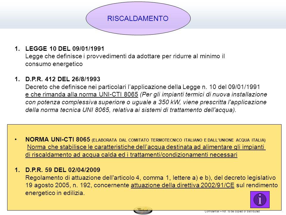 Confidential – not to be copied or distributed 1.LEGGE 10 DEL 09/01/1991 Legge che definisce i provvedimenti da adottare per ridurre al minimo il consumo energetico 1.D.P.R.