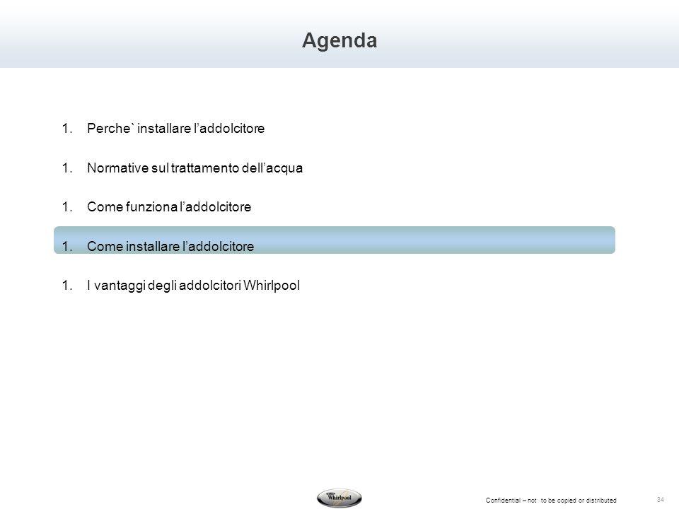 Confidential – not to be copied or distributed 34 Agenda 1.Perche` installare laddolcitore 1.Normative sul trattamento dellacqua 1.Come funziona laddo