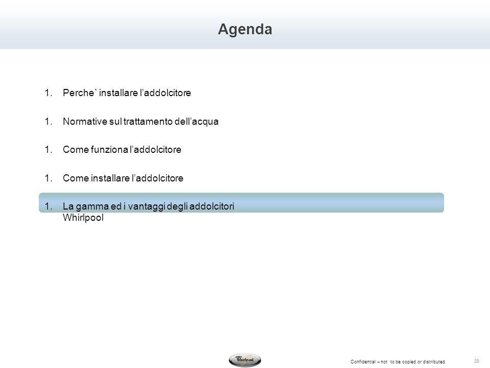 Confidential – not to be copied or distributed 39 Agenda 1.Perche` installare laddolcitore 1.Normative sul trattamento dellacqua 1.Come funziona laddo