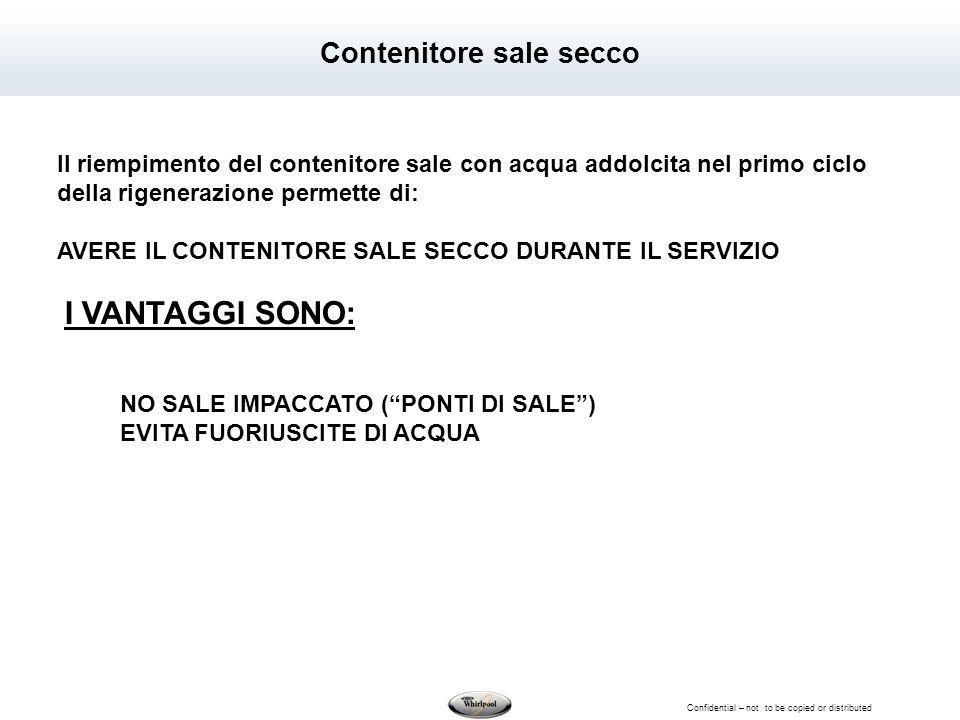 Confidential – not to be copied or distributed Contenitore sale secco Il riempimento del contenitore sale con acqua addolcita nel primo ciclo della ri