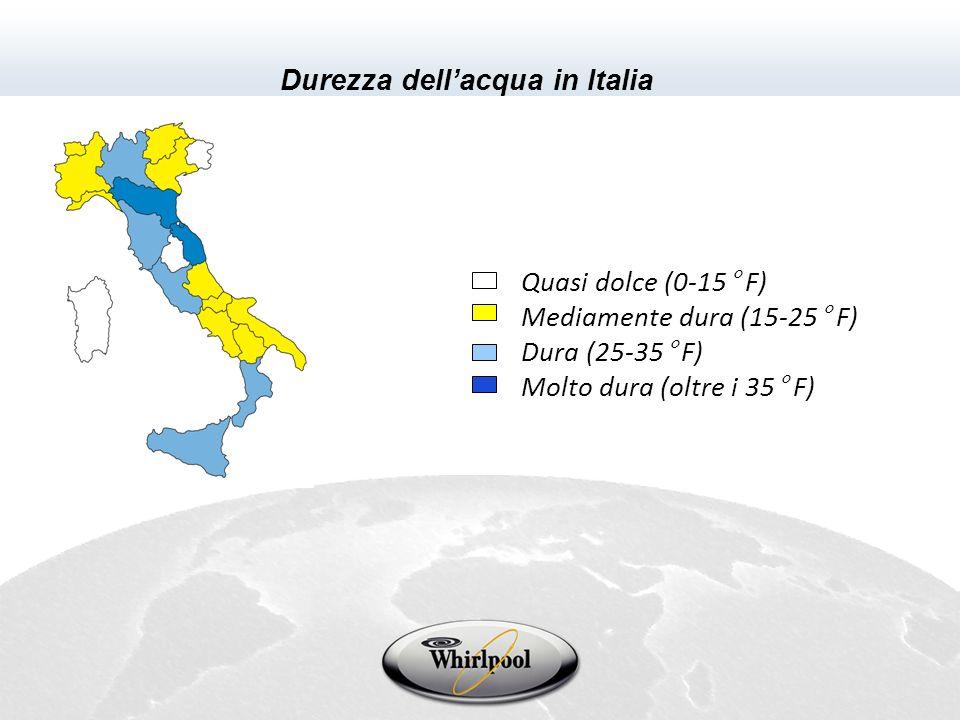Quasi dolce (0-15° F) Mediamente dura (15-25° F) Dura (25-35° F) Molto dura (oltre i 35° F) Durezza dellacqua in Italia