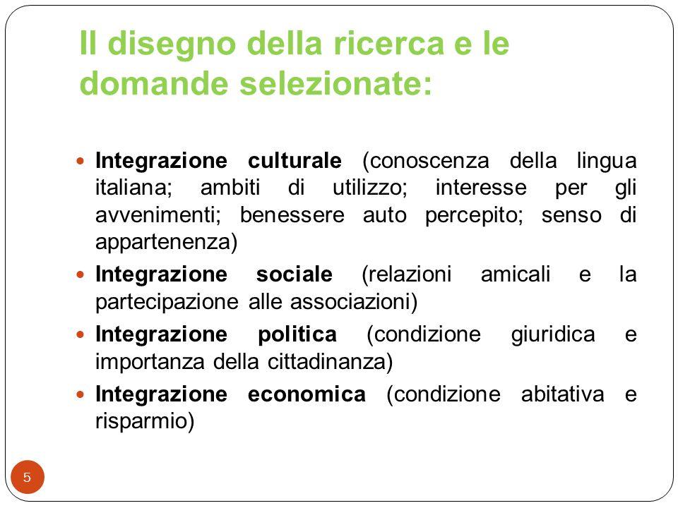 Il disegno della ricerca e le domande selezionate: 5 Integrazione culturale (conoscenza della lingua italiana; ambiti di utilizzo; interesse per gli a