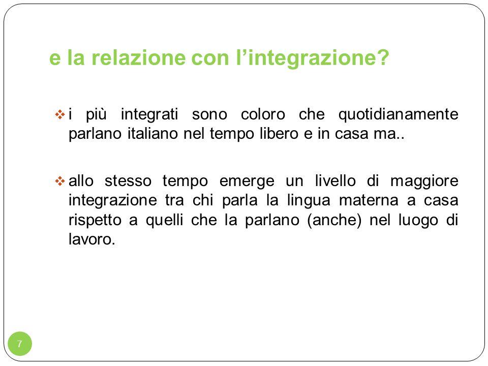 e la relazione con lintegrazione? 7 i più integrati sono coloro che quotidianamente parlano italiano nel tempo libero e in casa ma.. allo stesso tempo