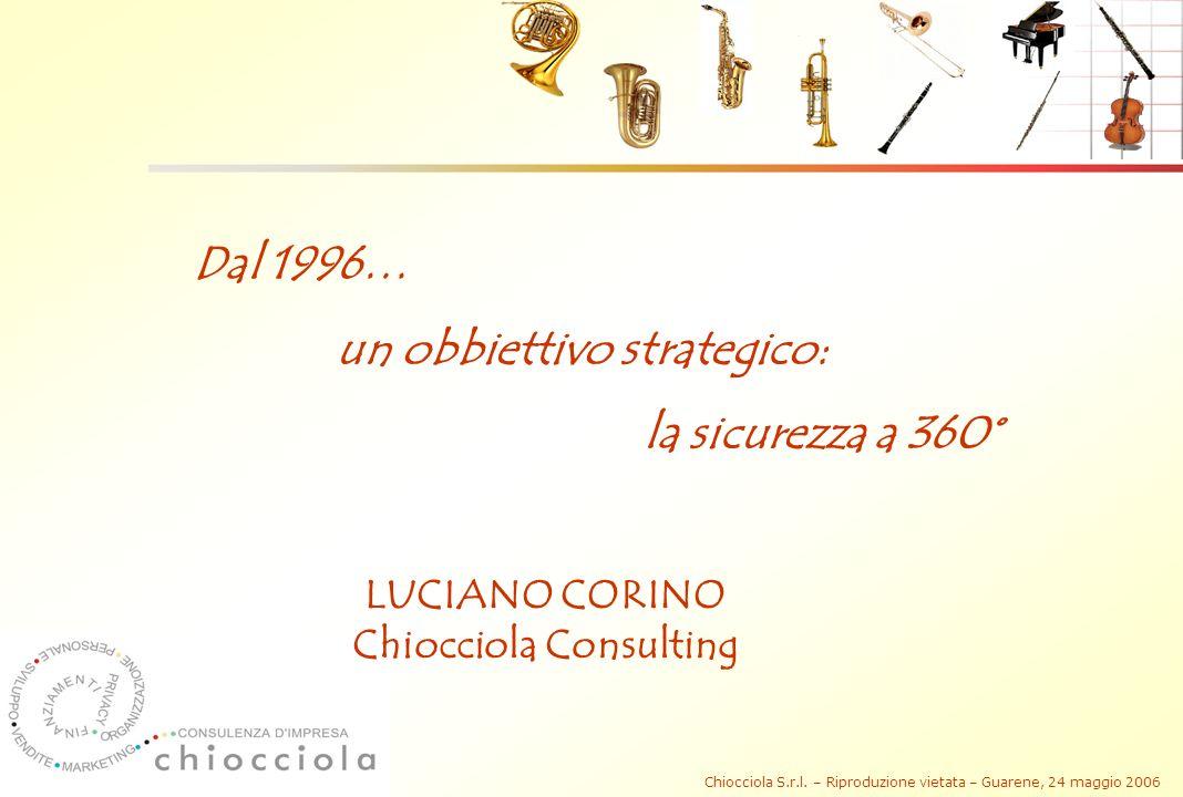 Chiocciola S.r.l. – Riproduzione vietata – Guarene, 24 maggio 2006 Dal 1996… un obbiettivo strategico: la sicurezza a 360° LUCIANO CORINO Chiocciola C