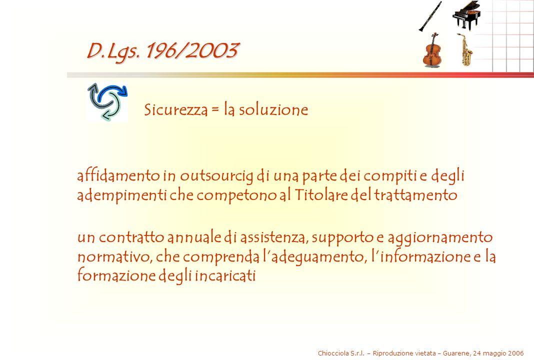 Chiocciola S.r.l. – Riproduzione vietata – Guarene, 24 maggio 2006 D.Lgs. 196/2003 Sicurezza = la soluzione affidamento in outsourcig di una parte dei