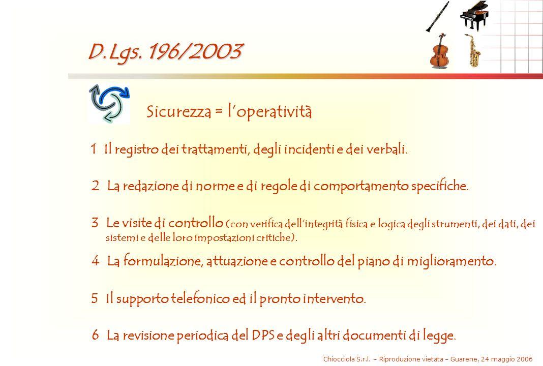 Chiocciola S.r.l. – Riproduzione vietata – Guarene, 24 maggio 2006 D.Lgs. 196/2003 Sicurezza = loperatività 1 Il registro dei trattamenti, degli incid