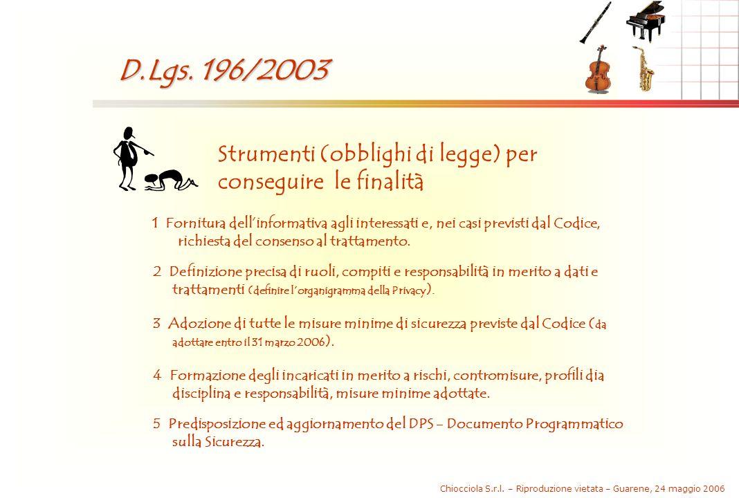 Chiocciola S.r.l. – Riproduzione vietata – Guarene, 24 maggio 2006 D.Lgs. 196/2003 Strumenti (obblighi di legge) per conseguire le finalità 1 Fornitur