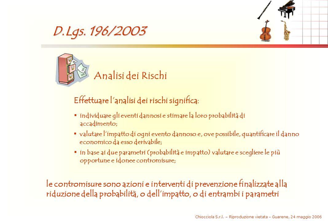 Chiocciola S.r.l. – Riproduzione vietata – Guarene, 24 maggio 2006 D.Lgs. 196/2003 Analisi dei Rischi in base ai due parametri (probabilità e impatto)