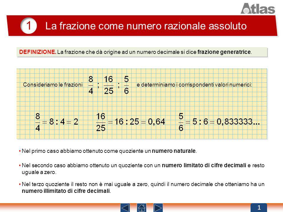 DEFINIZIONE. La frazione che dà origine ad un numero decimale si dice frazione generatrice. 1 La frazione come numero razionale assoluto 1 Consideriam